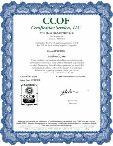 2018 CCOF Certification
